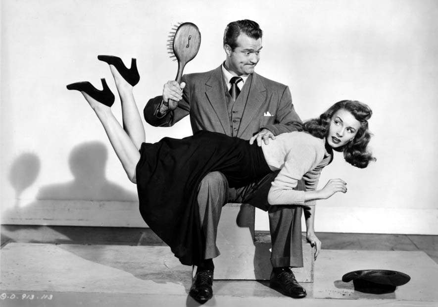 This is from the 1948 Red Skelton movie, The Fuller Brush Man. The actress is Janet Blair.