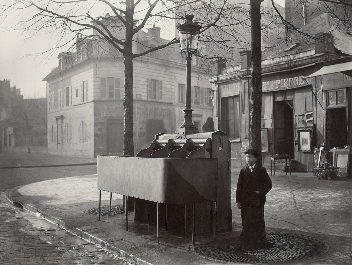 A pissoir with three stalls, Paris, ca.1865