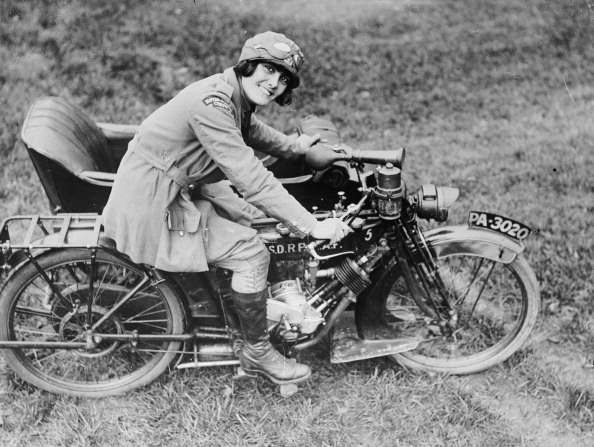 The Women's Royal Air Force (WRAF) During The First World War, A motorcyclist with the Women's Royal Air Force (WRAF) on a Clyno motorcycle combination, circa 1916. (Photo by IWM via Getty Images)