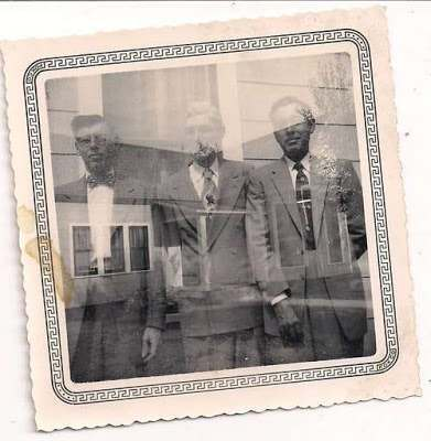 1940s 3 men double exposure