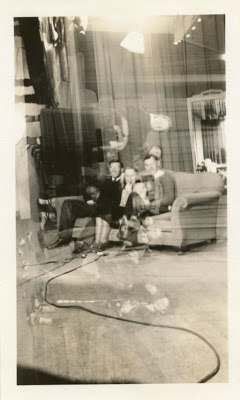 1940s  Men Woman On Stage Theatre Vintage Photo Double Exposure Odd Couch