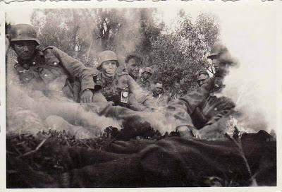 1940s WW2 World War 2 Combat Double Exposure Odd Vintage Photo Military Men Soldiers Fire Explosion