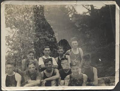 1940s teenage athletes double exposure vintage photo mountains