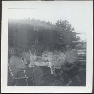 1950s Family Trailer Park Outdoor Picnic Vintage Odd Photo Double Exposure