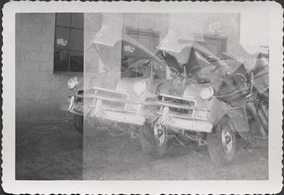 1950s plymouth car wreck double exposure