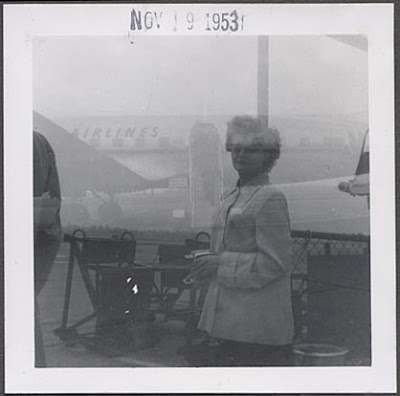 1953 woman airplane photo double exposure