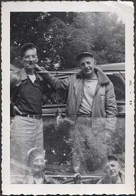 1955 Two Fishing Men Odd Double Exposure Vintage Photo Fishermen