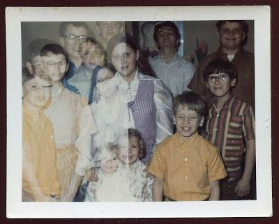 1960s family double exposure woman man kids vintage fashions eyeglasses