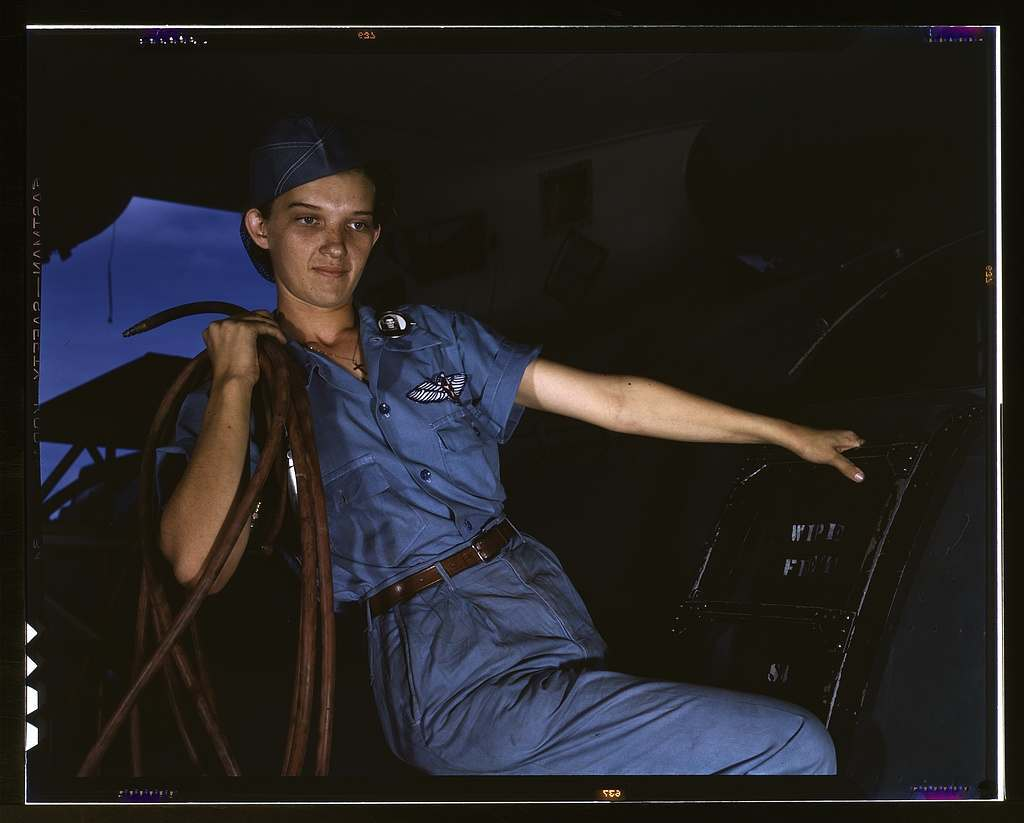 With a woman's determination, Lorena Craig takes over a man-size job, Corpus Christi, Texas. Before she came to work at the Naval air base she was a department store girl. Now she is a cowler under civil service