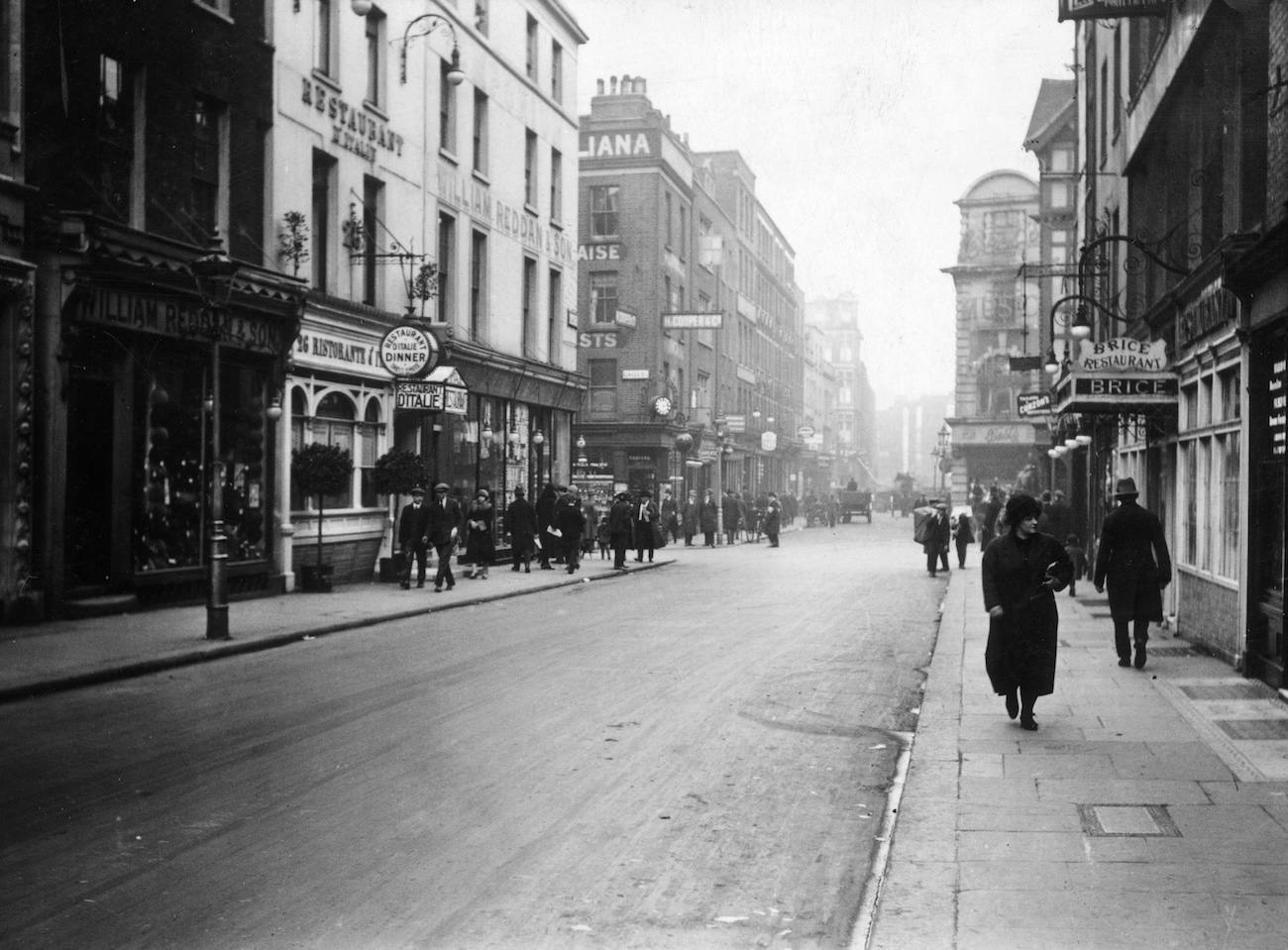 22nd February 1926:  Old Compton Street in London's Soho.  (Photo by Topical Press Agency/Getty Images)