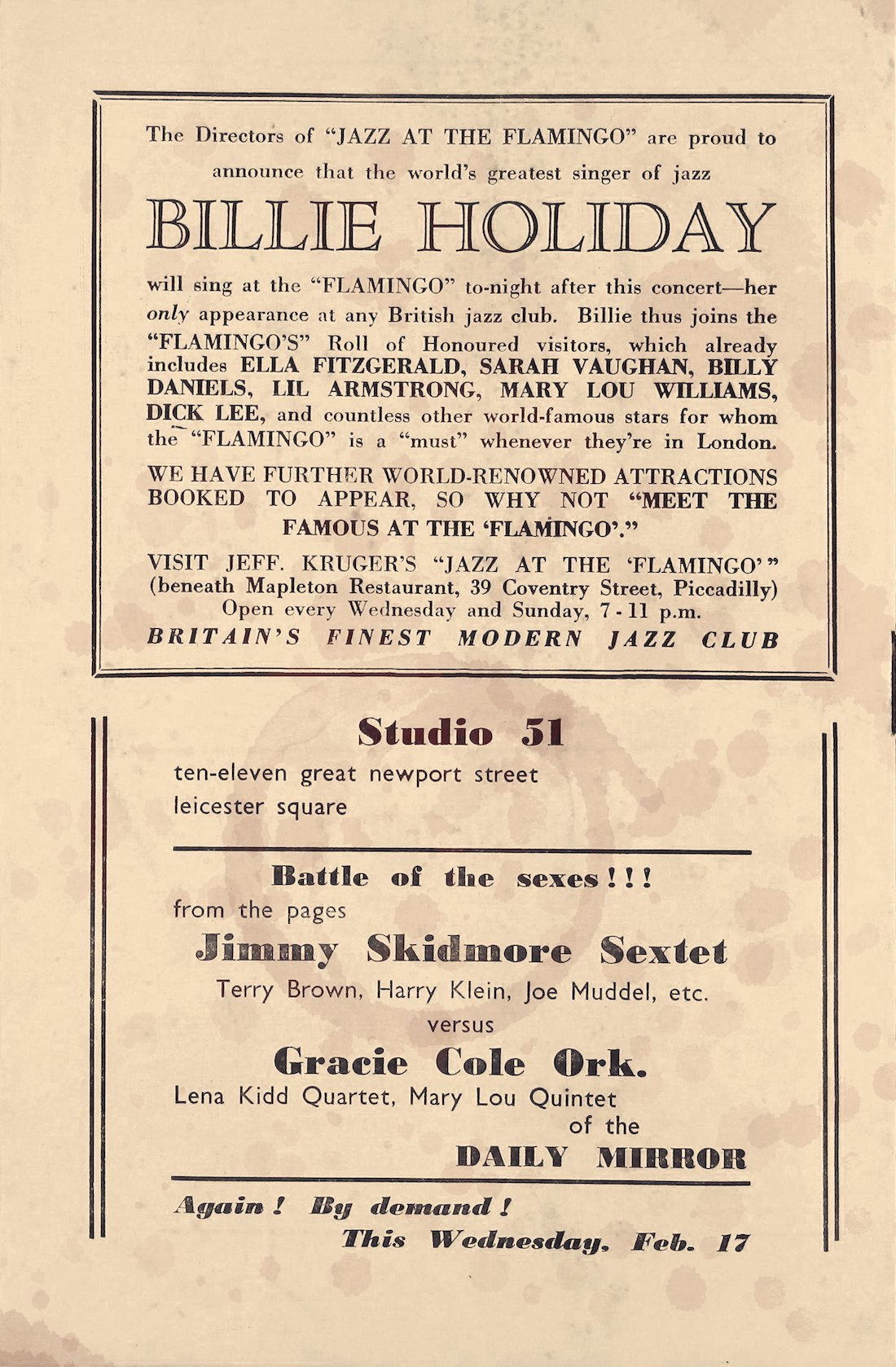 Ad for the Flamingo in the programme for Billie Holiday's appearance at the Royal Albert Hall