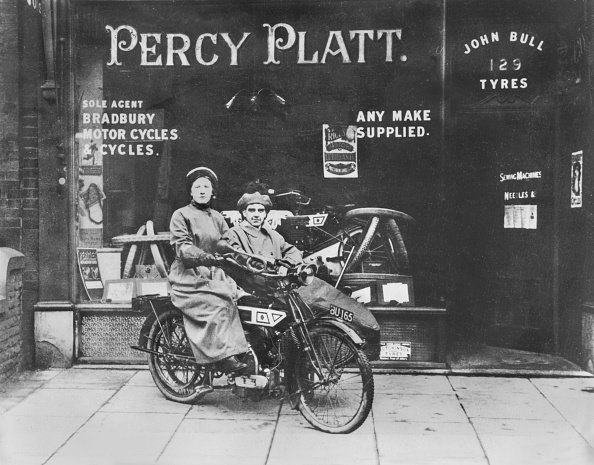 Percy Platt's Motor Cycle Shop in Union Street. Oldham, Manchester,  c1915. (Photo by Past Pix/SSPL/Getty Images)