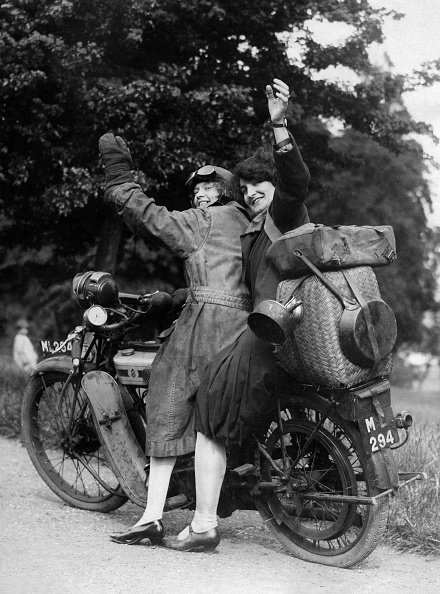 (GERMANY OUT) Spare time pictures of the 1920/30ies Two young women heading off by motorbike for a weekend trip - photographer: Gregor Kutschuk - 1929 - Vintage property of ullstein bild (Photo by ullstein bild/ullstein bild via Getty Images)