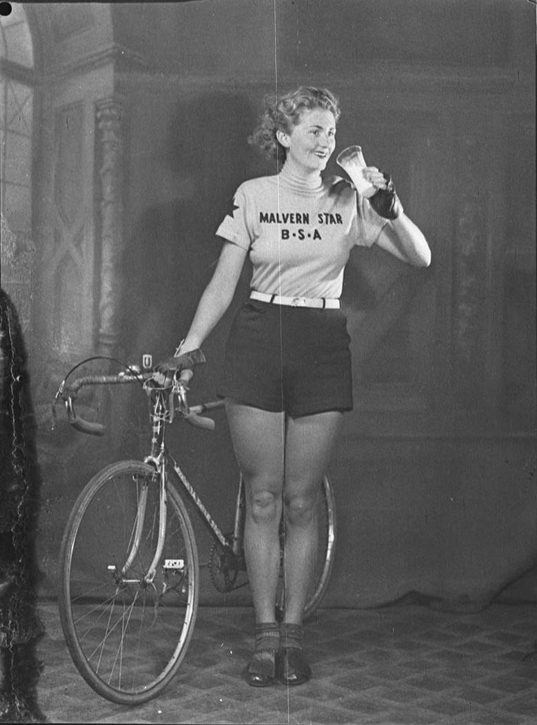 Joyce Barry advertising for Milk Board, September 1939 Cyclist Joyce Barry was celebrated throughout the 1930s for her many record-breaking time and distances rides.