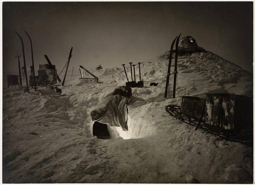 Winter quarters, Queen Mary Land winter, from [Exhibition of pictures taken during the Australasian Antarctic Expedition and other photographic studies by Frank Hurley], 1911-1914