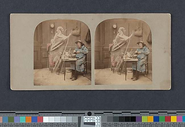 The Ghost in the Stereoscope: Founded in 1854, the London Stereoscopic and Photographic Company was a major publisher of stereographs-cards with two nearly identical photographs mounted side by side that can be viewed through a binocular device to create an illusion of depth. The firm's output was colossal; their 1858 catalogue listed more than one hundred thousand views. While the majority of these were landscapes or architectural views, there was also a thriving market for staged historical, sentimental, or comic tableaux, which were often hand-colored to enhance their dramatic impact. Among the most popular themes were courtship, marriage, unrequited love, bereavement, children sleeping or praying, fairy tales, fortune telling, and supernatural scenes involving ghosts or spirits.