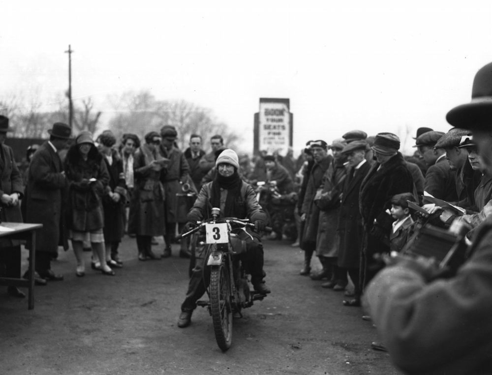 1926:  A competitor at the Ladies' Bike Trials at Alexandra Palace, north London.  (Photo by Fox Photos/Getty Images)