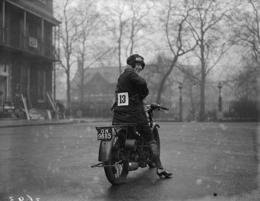 9th January 1927:  A woman entrant in the Ladies only Motor Cycle Reliability Trial at Alexandra Palace, London.  (Photo by Fox Photos/Getty Images)