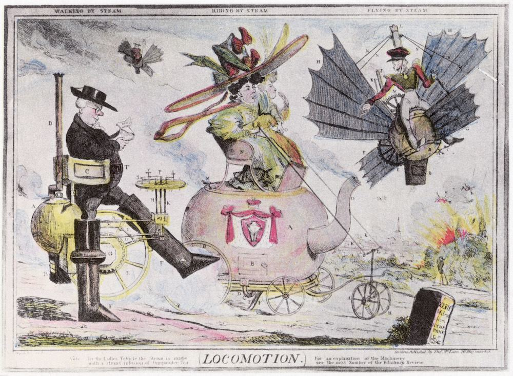 1820: An illustrator's comic vision of future pollution from various modes of steam-powered transport. People are represented as walking, riding and flying by steam. A cartoon by Shortshanks from the Edinburgh Review. (Photo by Hulton Archive/Getty Images)