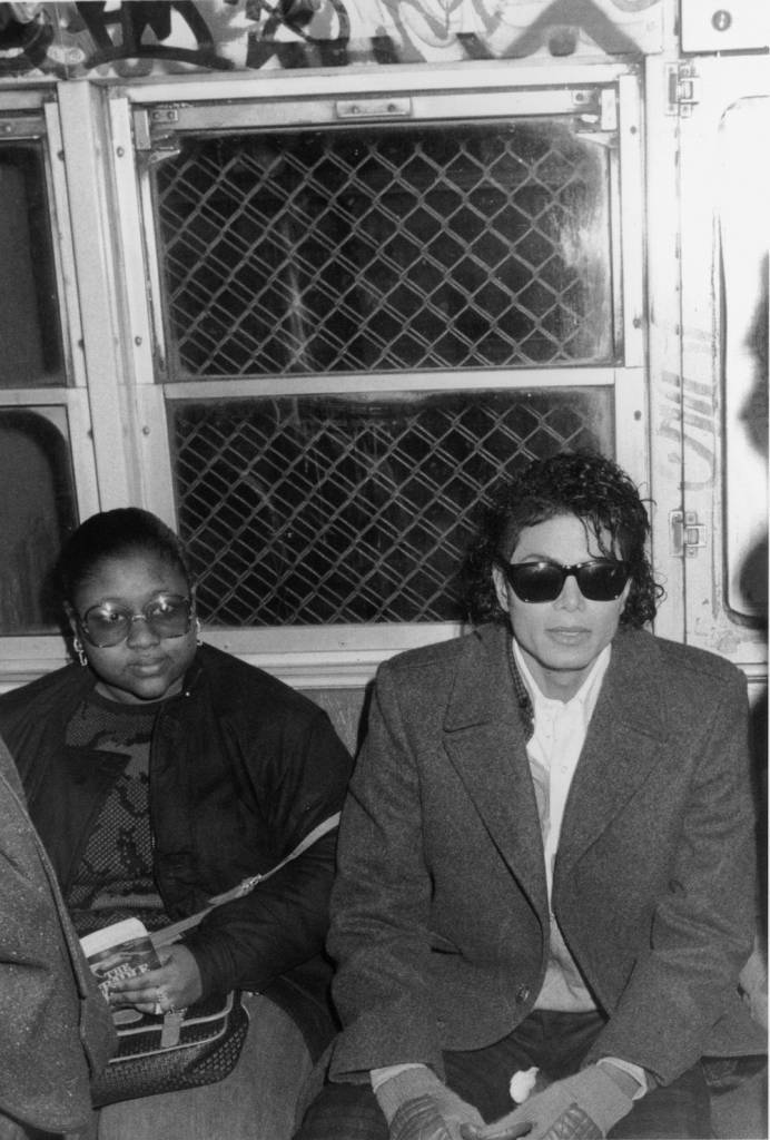Popular American musician Michael Jackson (1958 ? 2009) sits in a subway car during the filming of the long-form music video for his song 'Bad,' directed by Martin Scorcese, New York, New York, 1987. (Photo by Vinnie Zuffante/Hulton Archive/Getty Images)