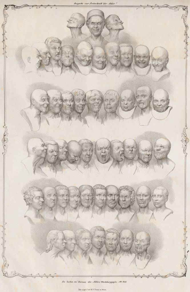 "Matthias Rudolph Toma (1792-1869), Messerschmidt's ""character heads"" (1839, lithograph on paper), Austrian National Library, Vienna."