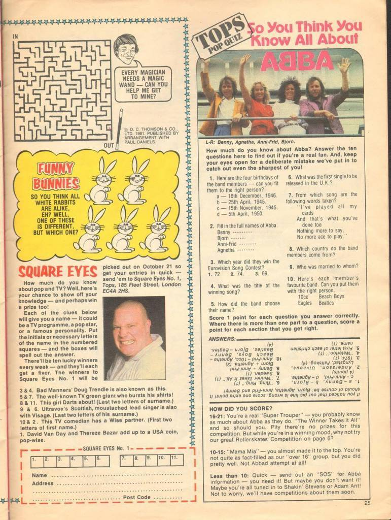 Page 25 TV Tops Magazine issue 1 1981 Adama ant