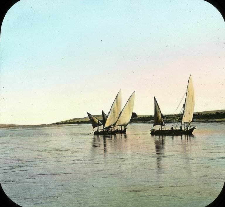 """Views, Objects: Egypt. Abu Simbel. View 07: Egypt - The Nile from Abu Simbel."". Lantern slide, 3.25 x 4 in (8.25 x 10 cm). Brooklyn Museum, lantern slides"