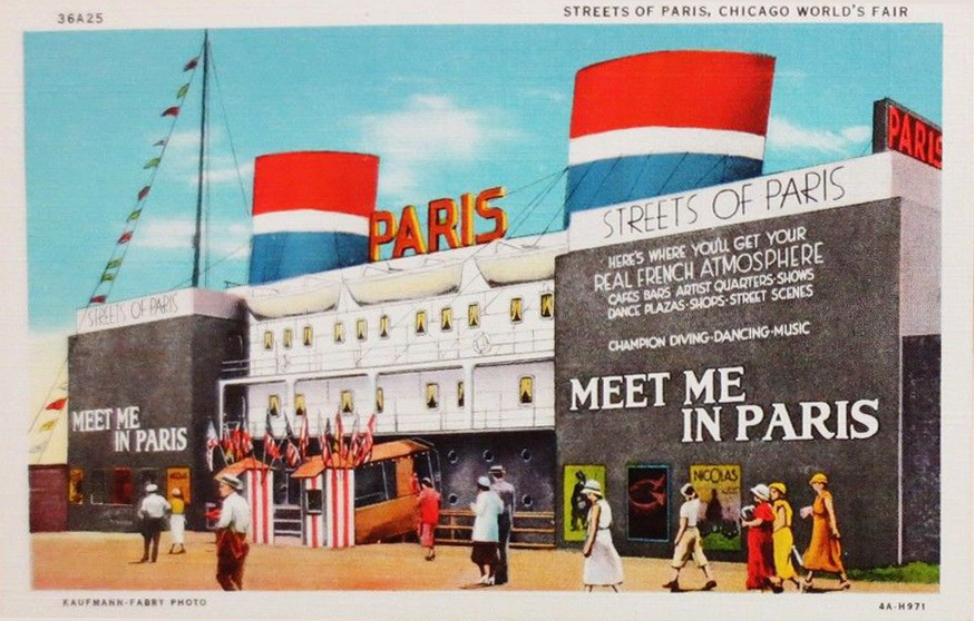 Streets of Paris Entry on the Midway, Century of Progress Exposition, Chicago World Fair, 1933.