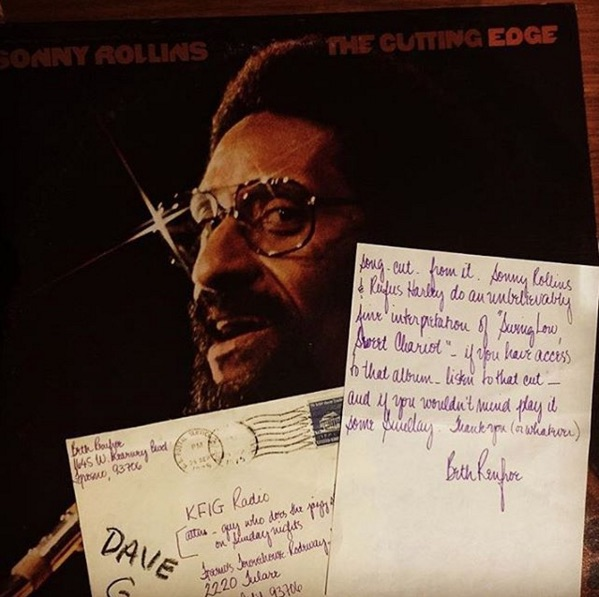 "@hackmartian found this Sonny Rollins LP with a letter inside from Beth to the ""guy who does the jazz show on Sunday nights"" at KFIG. It appears his name is ""Dave G"" after all (see pic). In the letter, Beth asked Dave to play ""Swing Low, Sweet Chariot"" - a version on this record that includes bagpipes."