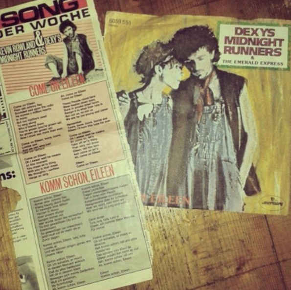 "@llmmmnll found this clipping of a German translation of the song ""Come on Eileen"" inside this Dexy's Midnight Runners LP"