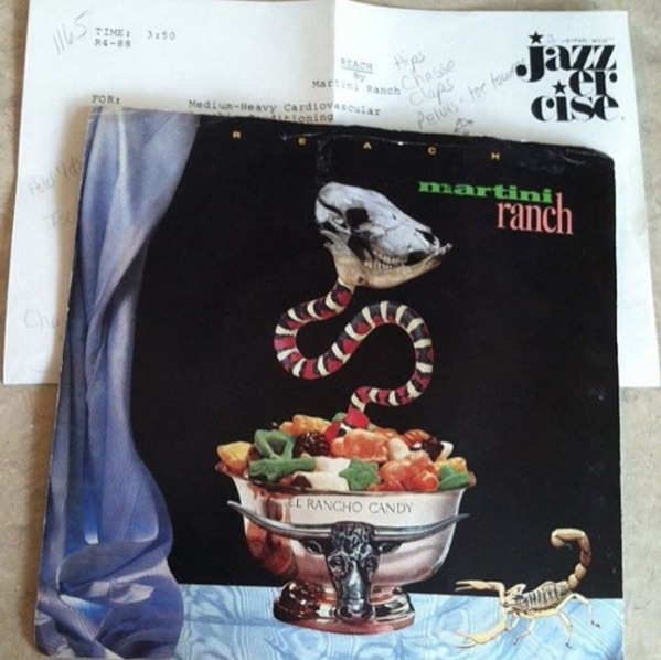 @vinylbeast found a choreograph sheet for a Jazzercise workout from 1988 inside this Martini Ranch LP.