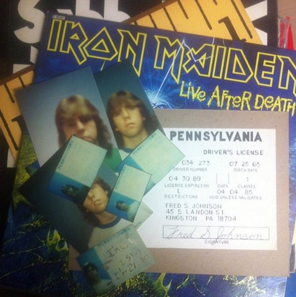 @academyrecords found this kid's attempt at making a fake ID inside of a copy of Iron Maiden's 'Live After Death' records.