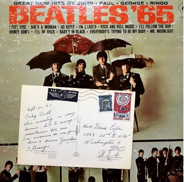 @turntablebooks45 found a postcard inside a Beatles '65 LP. The postcard appears to Have been sent from France to Washington D.C. in 1965. Something about there being too many mountains in France.