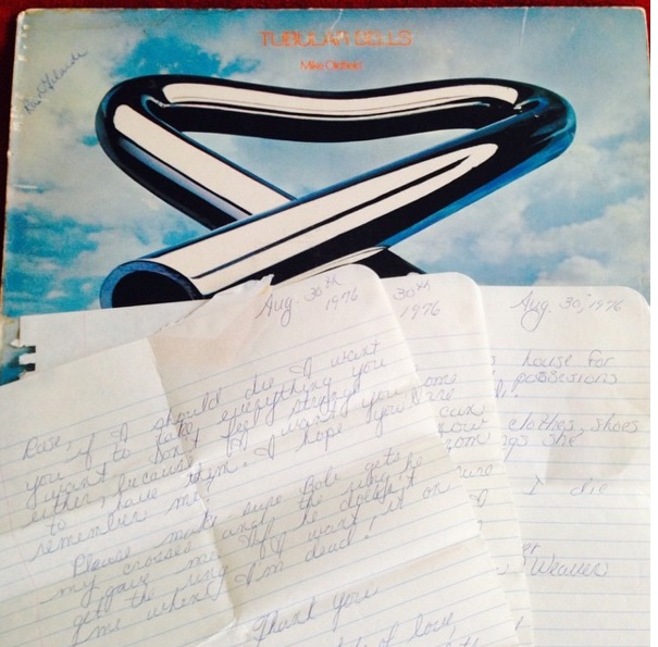 "Andy Levine from Brooklyn found a copy of Tubular Bells at@doubledeckerrecords in Allentown, PA and inside found a few upsetting letters. The letters appear to be a young woman named ""Bets"" drafting a light will to her friend Rose. They are all very similar in content but the most succinct copy reads: Aug. 30th 1976. Rose, If I should die I want you to take everything you want. Don't feel strange either, because I want you to have them. I hope you'll remember me? Please make sure Bob gets my crosses and the ring he gave me. If he doesn't get the ring, I want it on me when I'm dead! Thank you, Lots of love, Bets""  In another letter, she also urges Rose to take care of Bob ""Because I know he likes you!"" The name written on the cover of the record is indeed Rose's, verifying that these letter were in fact delivered and filed away."