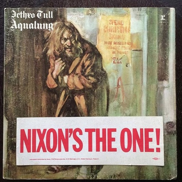 @elicenter pulled this NIXON'S THE ONE! bumper sticker out of a copy of 'Aqualung' by Jethro Tull.