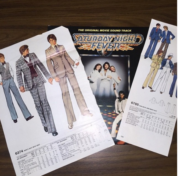 @raisingazfan found some vintage clothing patterns in a copy of Saturday Night Fever.