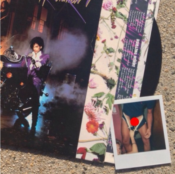 @vitaminvintagevinyl found a copy of Prince's 'Purple Rain' at a flea market in Bellmore, NY and although it didn't include the promotional poster, it did include the (censored) scandalous photo seen here!