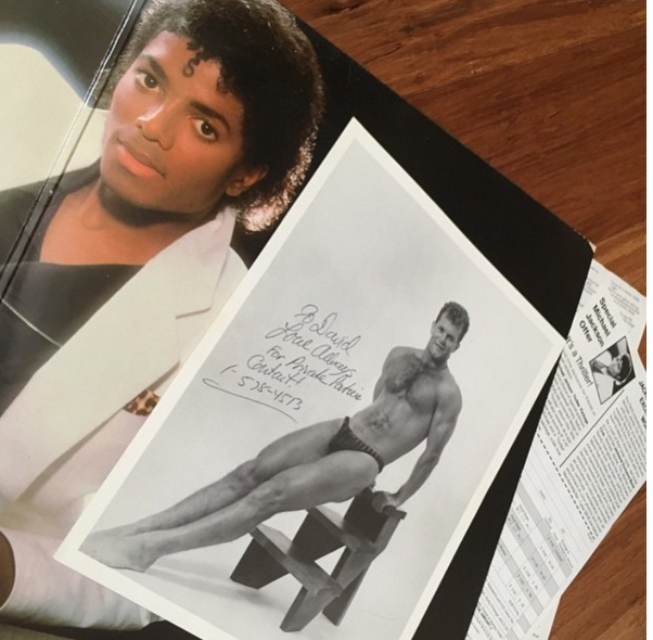 "@pwarham was in Myrtle Beach at a flea market and picked up a fresh copy of Thriller. When he got home to play the record, out fell this 8""x10"" glossy. It reads ""To David, Love always. For private partner (or parties?) Contact! 1-578-4513""."