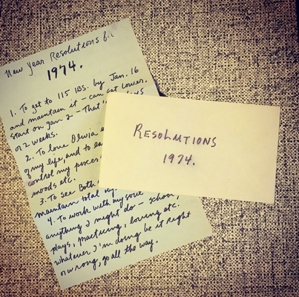 """""""New Year Resolutions for 1974"""" list and envelope found in a copy of The Beach Boys 'Pet Sounds'. List has a lot to do with """"loving Olivia"""" and """"loving life more often""""."""