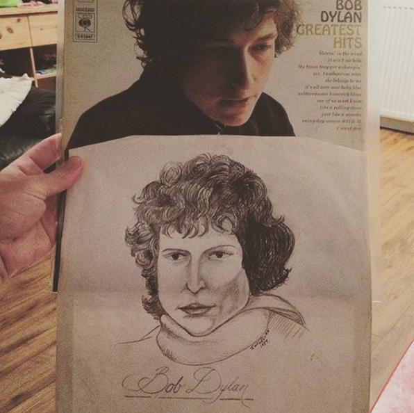 "@crackpipe_g found this drawing of Bob Dylan inside a copy of his Greatest Hits LP. The portrait is signed ""J. McLellan 1977""."