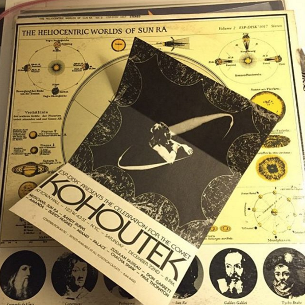 @pgiampi1 scored a copy of 'The Heliocentric Worlds of Sun Ra' and found an original celebration for the comet KOHOUTEK flyer inside!