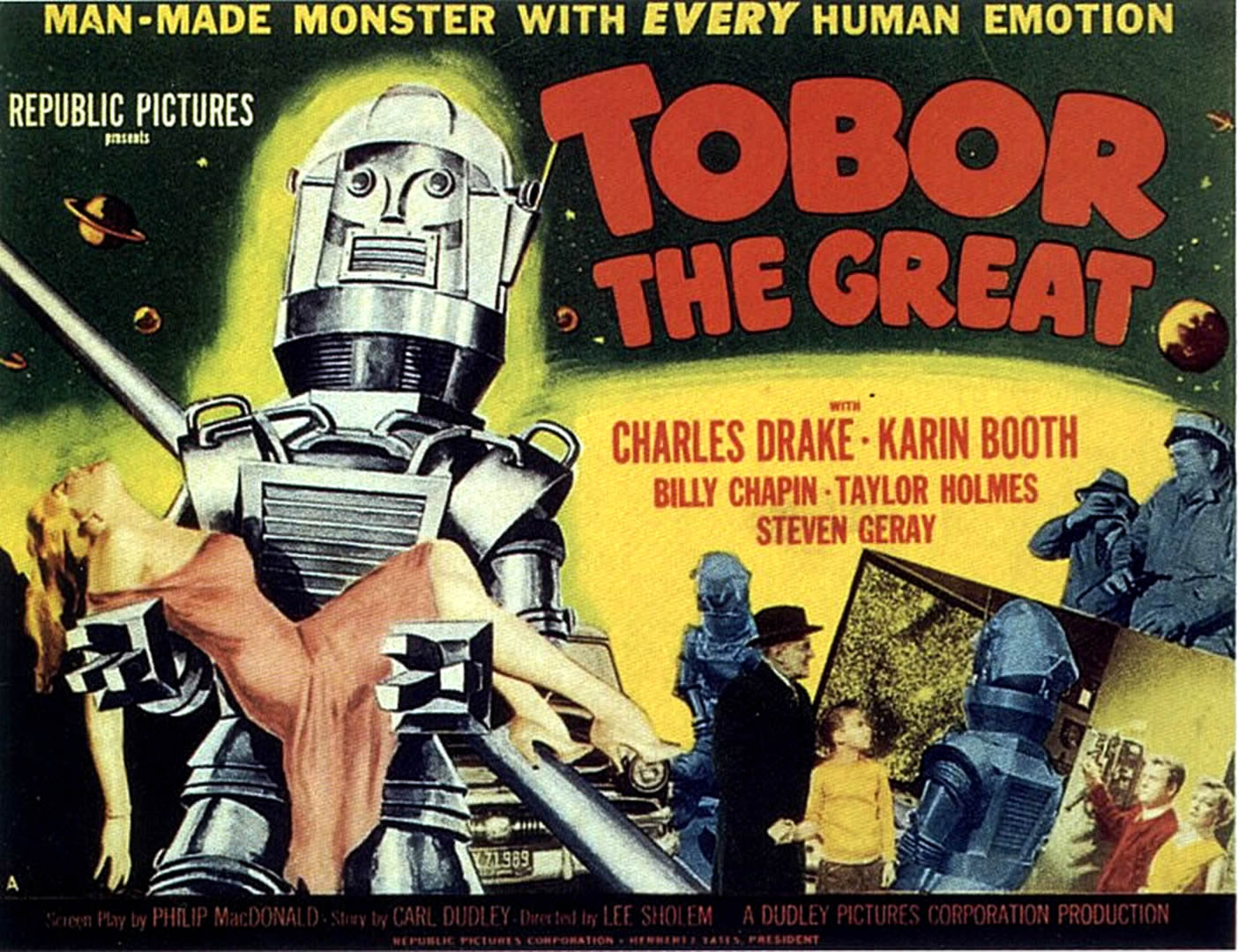 Tobor the Great, a man-made machine with EVERY emotion. Released in 1954.