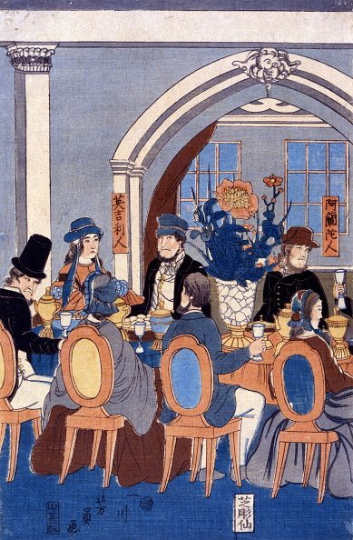 Banquet of five nations (Yokohama club). Artist Yoshikazu Utagawa (1848-1863) Colour woodcut. Japanese diptych print shows a large group of people seated at a long table during a banquet at the Yokohama Club, 1861. (Photo by: Universal History Archive/UIG via Getty Images)