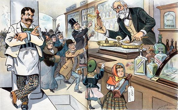 "The age of drugs by Louis Dalrymple 1866-1905, artist. 1905 Illustration shows the interior of a drugstore with an elderly man, the pharmacist, dispensing a ""Bracer"" to a crowd of eager consumers, while a young girl secures a bottle of ""Soothing Syrup."" On the counter are bottles and packets of ""Arsenic, Strychnine, Antipyrin, Nerve Stimulant, Opium, Cocaine"" and ""The Needle. (Photo by: Universal History Archive/UIG via Getty Images)"