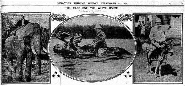 """Two months before the election, on Sep 8, 1912, the New York Tribune ran a set of humorous pictures under the headline """"The Race For The White House,"""" showing the three main presidential candidates astride the animals associated with their parties. William Howard Taft was shown riding an elephant (for the Republican party). Woodrow Wilson sat on a donkey (for the Democratic party). And Roosevelt rode a moose (for the Bull Moose party). All three images were fake. They had been created by the photographic firm Underwood and Underwood."""
