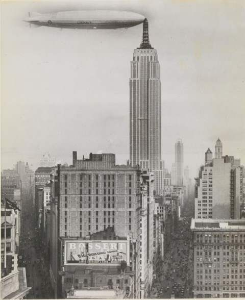 Dirigible Docked on Empire State Building, New York (Unidentified American artist, 1930)