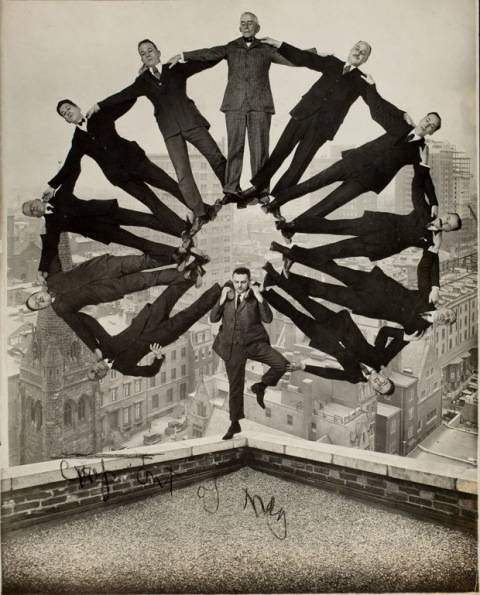 Man on Rooftop with Eleven Men in Formation on His Shoulders (Unidentified American artist, ca. 1930)