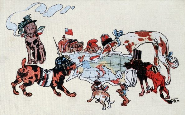 Caricature neutralist italiana: the warring states are represented as dogs of breeds and different sizes that you quarrel Europe: each takes between the teeth a flap of the map trying to take a slice for himself, Italy is a bersagliere-hound that quiet smokes the pipa careless of the brawl of the other dogs, Postcard of propaganda, chromolithography, Italy 1914. (Photo by Fototeca Gilardi/Getty Images)