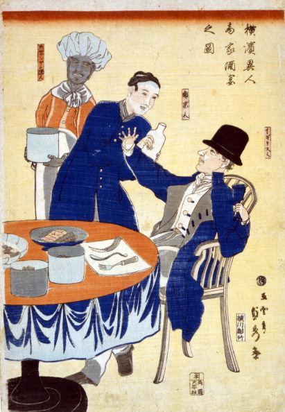 UNSPECIFIED - CIRCA 1754: British merchant at banquet in a foreign trading house in Yokohama, Japan, being waited on by a Chinese man, Thai chef in the background, 1861. Trade Commerce International Japanese (Photo by Universal History Archive/Getty Images)