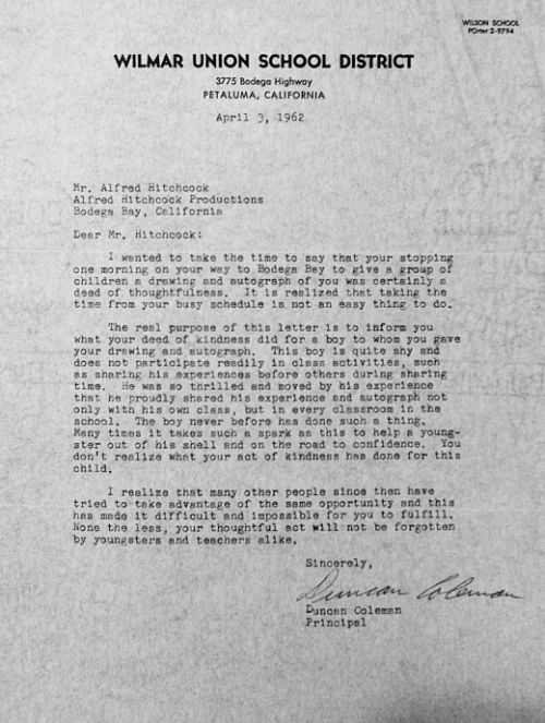 Hitchcock letter